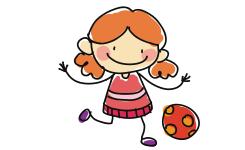 illustratie van een meisje met een bal