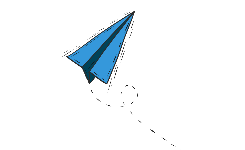 illustratie van een blauw papieren vliegtuigje